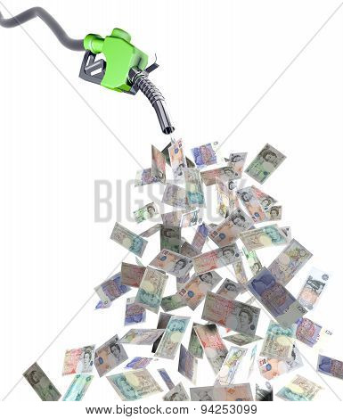 Fuel Nozzle With Pound Banknotes