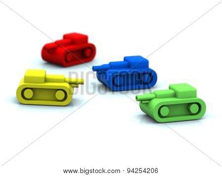 Four 3D Tanks Toy