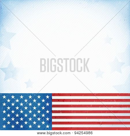 US American flag themed background, or card with flag at the bottom forming a patriotic border on a distressed, worn background with faintly visible stripes and stars. poster