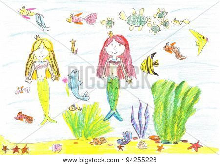 Child drawing of a mermaid, fish, turtle, starfish poster