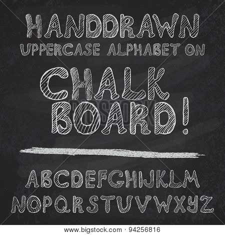 Hand Drawn Alphabet Design On Chalk Board, Rough Vector Font Uppercase Leters