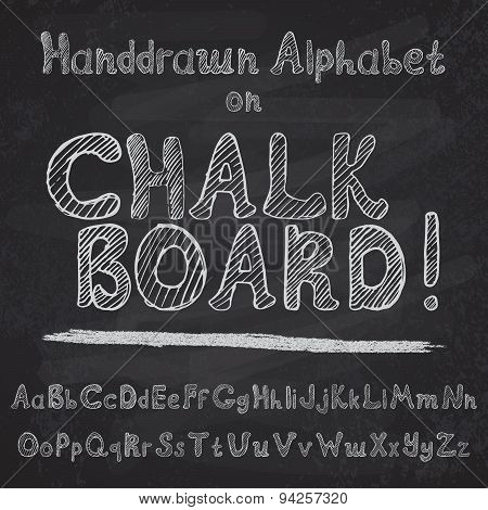 Hand Drawn Alphabet Design On Chalk Board, Rough Vector Font Upper And Lower Case Leters