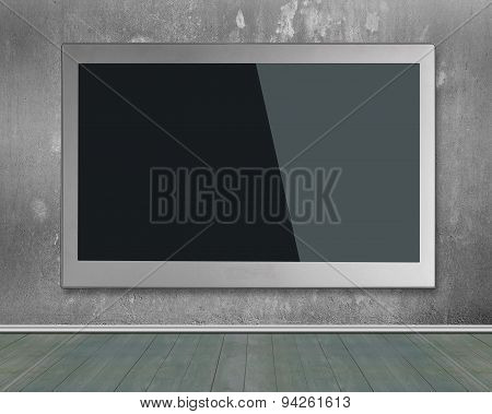 Blank Black Wide Flat Tv Screen Hanging On Wall