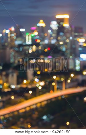 Abstract blur bokeh intersection highway at night