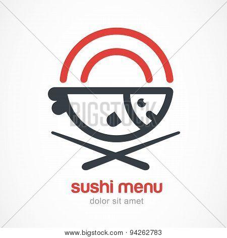 Fish, Plate, Chopsticks Line Illustration. Japanese Cuisine Vector Logo Design Template.