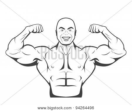 Strong bodybuilder man with perfect abs, shoulders, biceps, triceps and chest flexing his muscles. Monochrome vector EPS8 illustration. poster