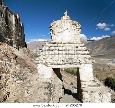 Stupa In Karsha Gompa - Buddhist Monastery In Zanskar