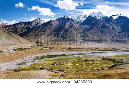 View Of Zanskar Valley Around Padum Village