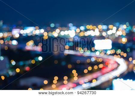 Twilight city road curve abstract blur bokeh background