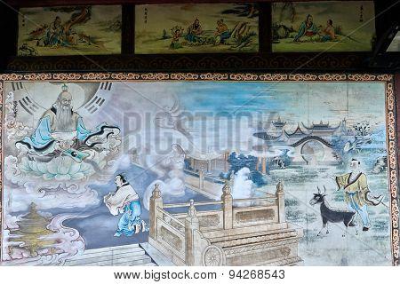 wall paintings Qingyang Gong taoist temple  in Chengdu Sichuan China