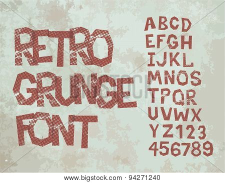 Retro grunge font with alphabet, vintage typography