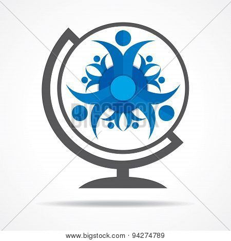 Teamwork Concept with globe stock vector