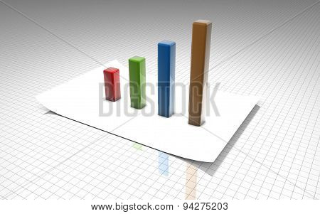 3D Abstract Background With Graph And Paper
