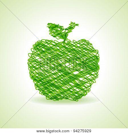 Sketched green apple design stock vector