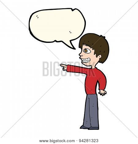 cartoon grinning boy pointing with speech bubble poster