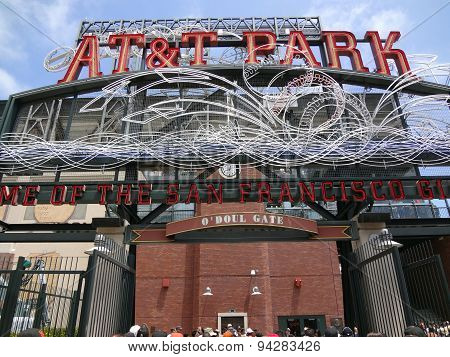 At&t Park - Home Of The Giants - Neon Sign During Day