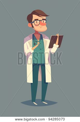 Funny doctor character. Isolated vector illustration.