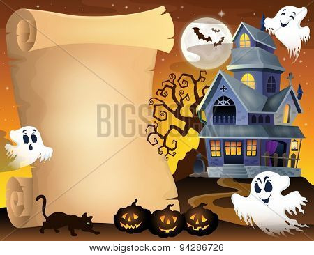 Parchment with haunted house thematics 3 - eps10 vector illustration.