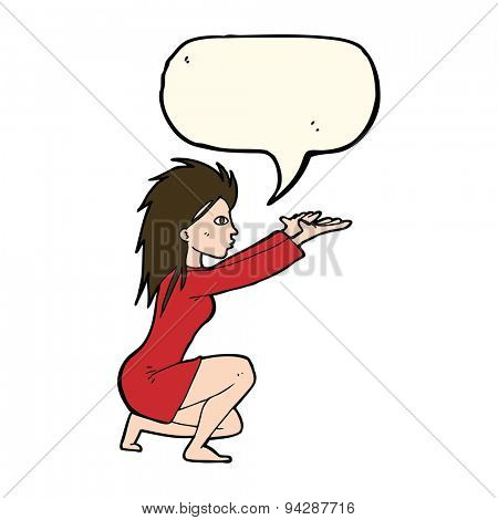 cartoon womn casting spel with speech bubble