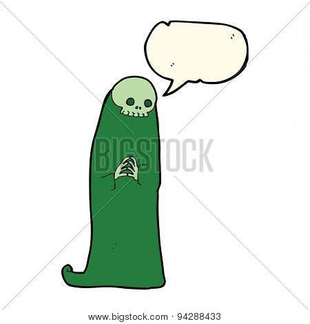 cartoon halloween ghoul with speech bubble