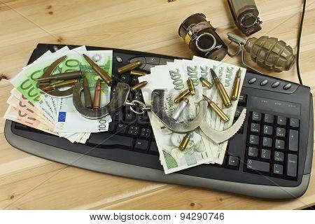 Internet illegal arms trade. Merchant arrest illegal ammunition. Internet crime.