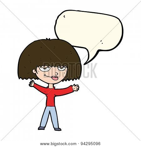 cartoon smug woman with speech bubble