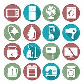 set of household appliances flat icons on colorful round web buttons with a washing machine stove fridge lamp kettle coffee machine and toaster poster