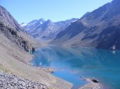 Reflections in the lake in the Andes Mountains. poster