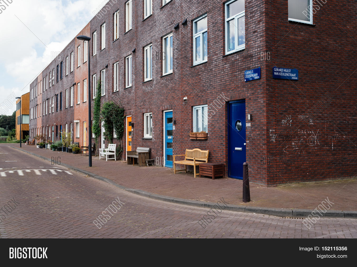 ad0a3a9a06 Amsterdam Netherlands - August 08 2016  Row modern architecture houses.  Ijburg is a residential
