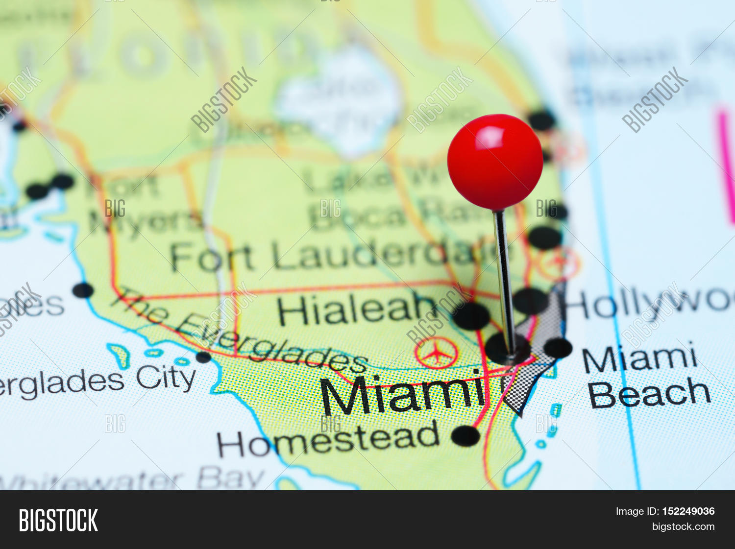 miami pinned on map image & photo (free trial) | bigstock