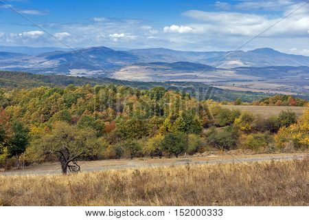 Autumn Panoramic view of Cherna Gora mountain, Pernik Region, Bulgaria