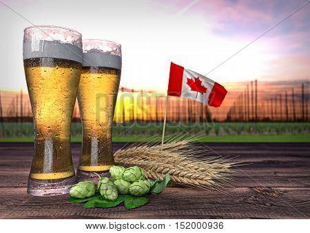 concept of beer consumption in Canada - 3D render