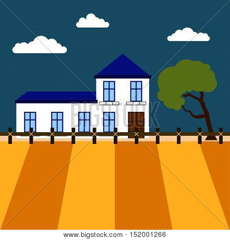 Farmhouse Vector illustration Plowed field and a view of the farmhouse