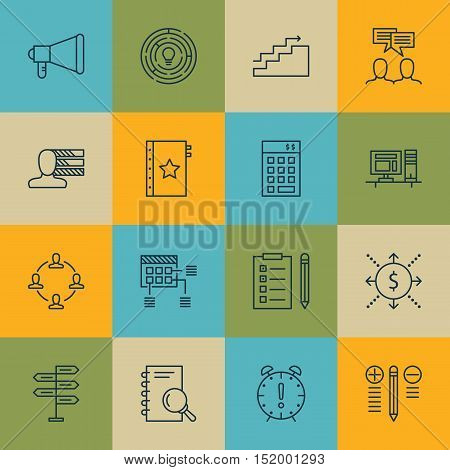 Set Of Project Management Icons On Discussion, Money, Reminder And Other Topics. Editable Vector Ill