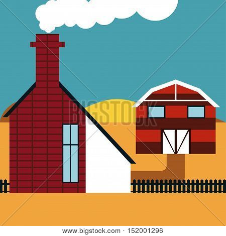 Farmhouse Vector illustration Striped barn and a brick farmhouse with a chimney
