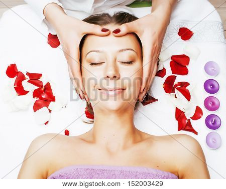 stock photo attractive lady getting spa treatment in salon, massage doctor smiling care pretty, lifestyle people concept