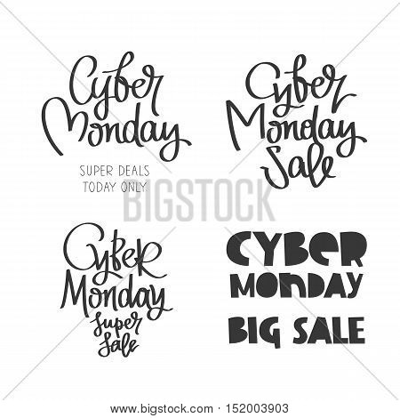 Set quotes to Cyber Monday. Super deal today only. Big Sale. Trend calligraphy. Vector illustration on white background. Conceived sale black friday shopping and discounts.