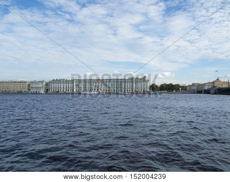 Saint Petersburg Russia September 09 2016 View of the Winter Palace. One of the attractions of St. Petersburg in St. Petersburg Russia.