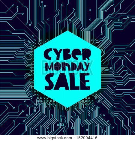 Cyber ​​Monday Sale. Vector illustration on blue circuit electronic board background. Concept sale black friday shopping and discounts.