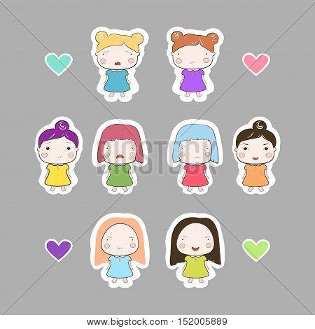 Cartoon Style Cutout Baby Girls Set on Grey Background
