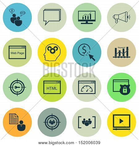 Set Of Seo Icons On Media Campaign, Security, Keyword Optimisation And Other Topics. Editable Vector
