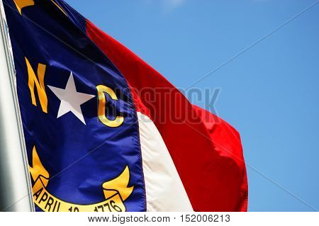 close up on North Carolina State flag