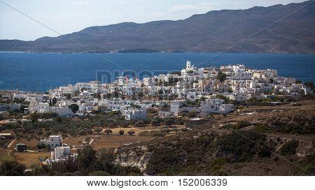 Scenic view of Milos island, Greece.