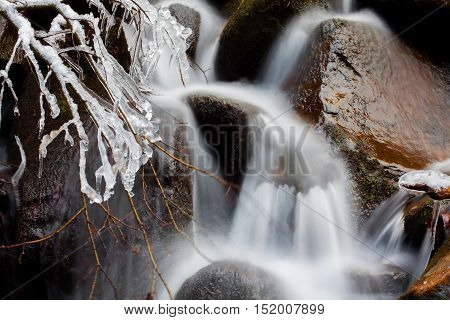 cascade with frozen water in the winter