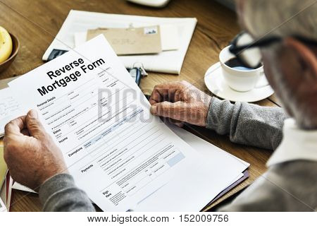 Reverse Mortgage Form Payslip Purchase Order Concept