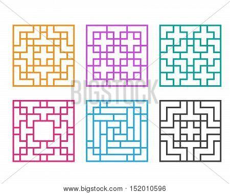 Korean ornament for window and floor vector design