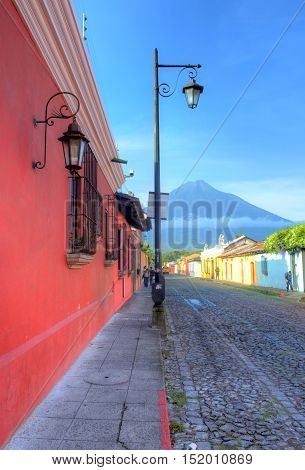 ANTIGUA GUATEMALA - JULY 30 : Street view of Antigua Guatemala on July 30 2015. The historic city Antigua is UNESCO World Heritage Site since 1979.