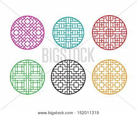 Round Chinese pattern window frame, vector design