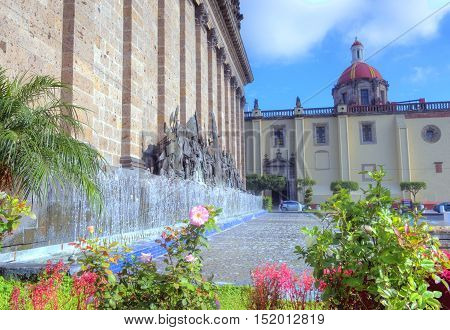 GUADALAJARA MEXICO - AUG 29 : The Plaza Fundadores in Guadalajara Mexico on August 29 2016. Guadalajara is the capital and largest city of the Mexican state of Jalisco
