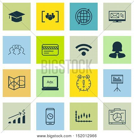 Set Of 16 Universal Editable Icons For Airport, Education And Marketing Topics. Includes Icons Such